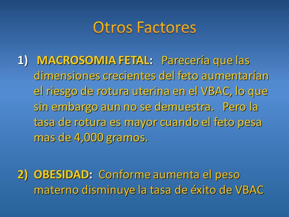 1) MACROSOMIA FETAL: Parecería que las dimensiones crecientes del feto aumentarían el riesgo de rotura uterina en el VBAC, lo que sin embargo aun no s