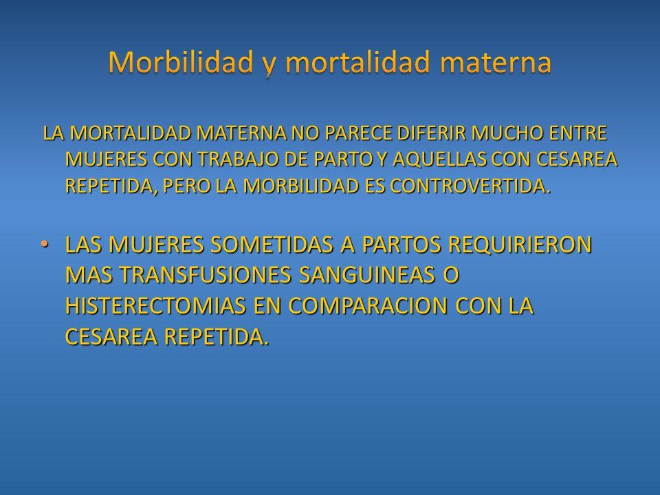 LA MORTALIDAD MATERNA NO PARECE DIFERIR MUCHO ENTRE MUJERES CON TRABAJO DE PARTO Y AQUELLAS CON CESAREA REPETIDA, PERO LA MORBILIDAD ES CONTROVERTIDA.