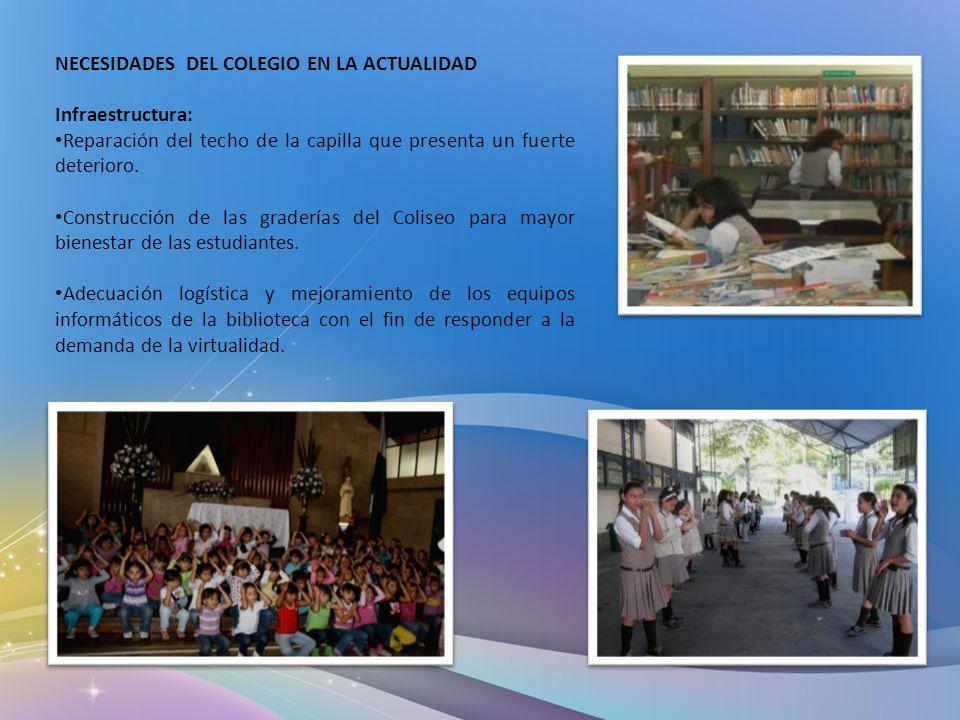 NECESIDADES DEL COLEGIO EN LA ACTUALIDAD Infraestructura: Reparación del techo de la capilla que presenta un fuerte deterioro. Construcción de las gra