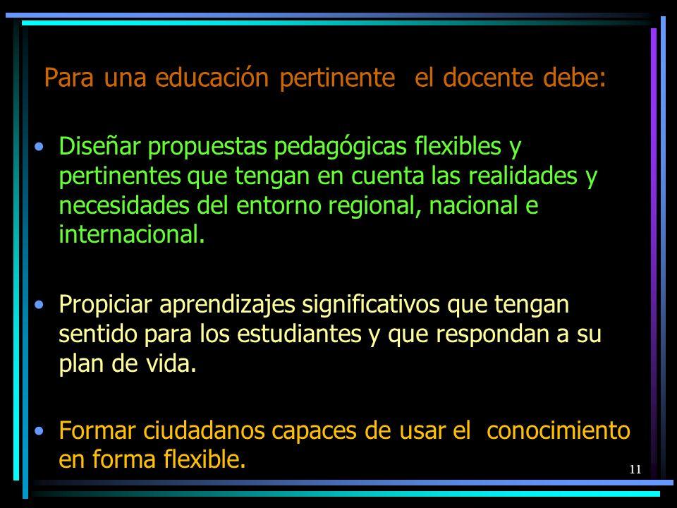 Para una educación pertinente el docente debe: Diseñar propuestas pedagógicas flexibles y pertinentes que tengan en cuenta las realidades y necesidade