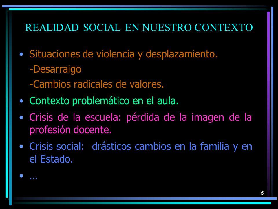 REALIDAD SOCIAL EN NUESTRO CONTEXTO Situaciones de violencia y desplazamiento. -Desarraigo -Cambios radicales de valores. Contexto problemático en el