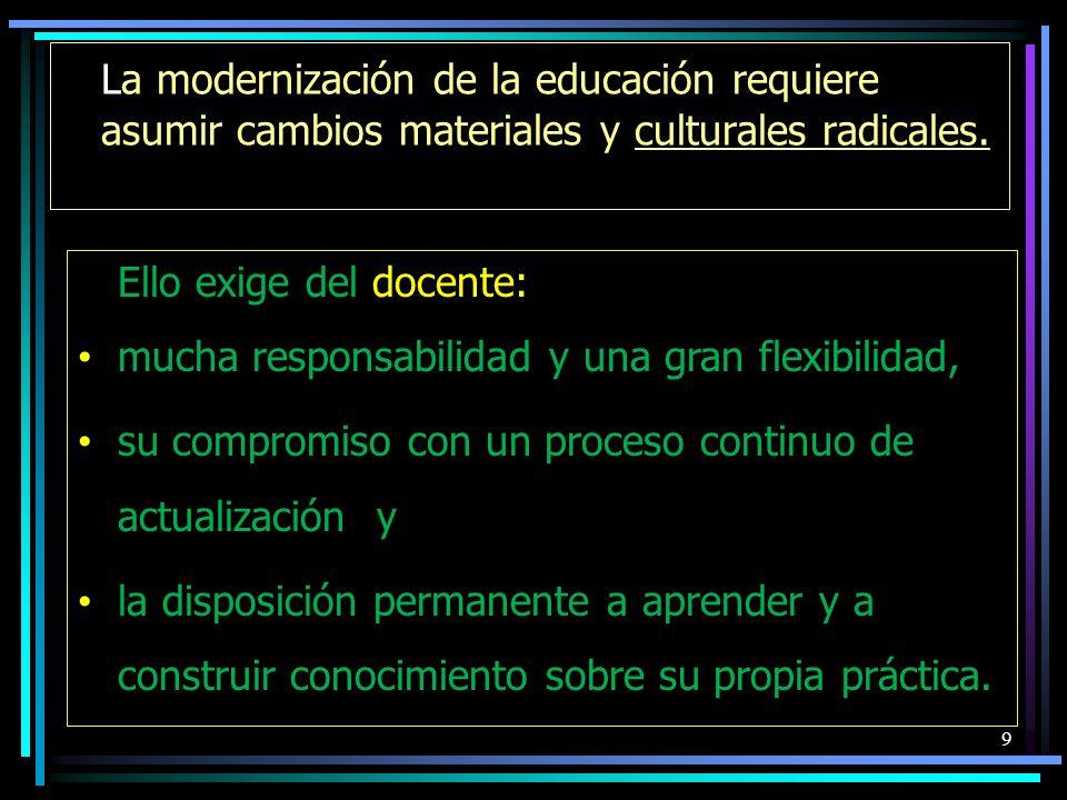 La modernización de la educación requiere asumir cambios materiales y culturales radicales. 9 Ello exige del docente: mucha responsabilidad y una gran