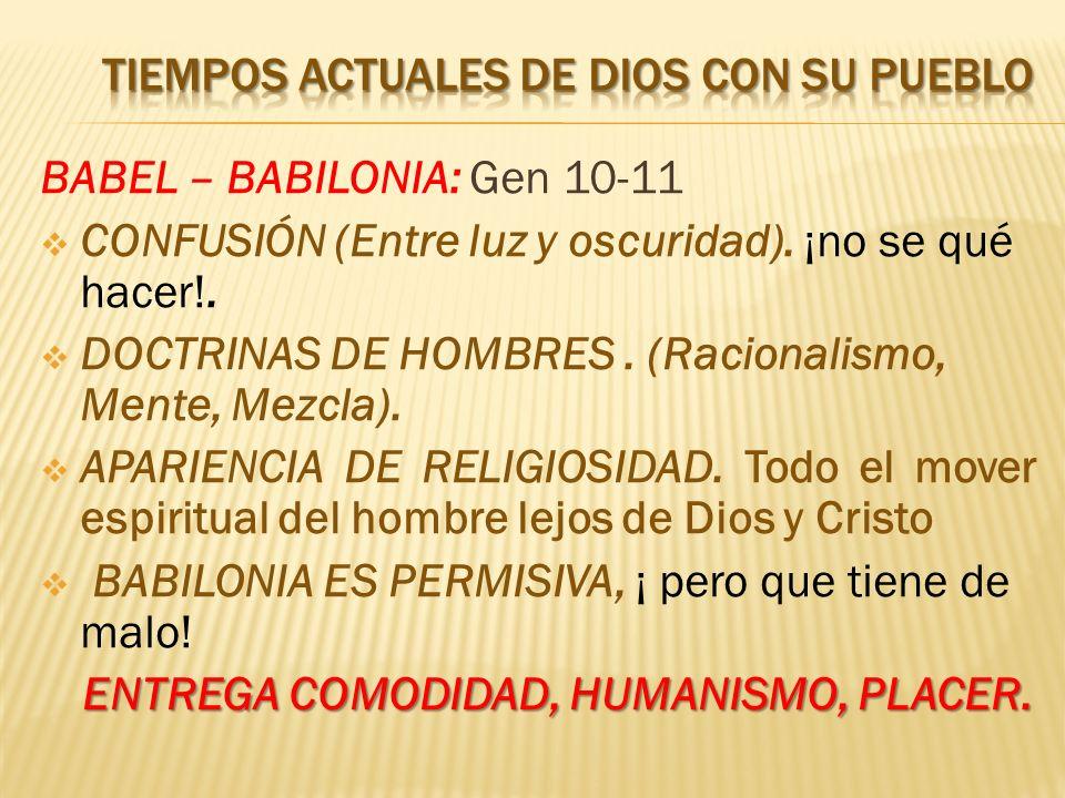 BABEL – BABILONIA: Gen 10-11 CONFUSIÓN (Entre luz y oscuridad). ¡no se qué hacer!. DOCTRINAS DE HOMBRES. (Racionalismo, Mente, Mezcla). APARIENCIA DE