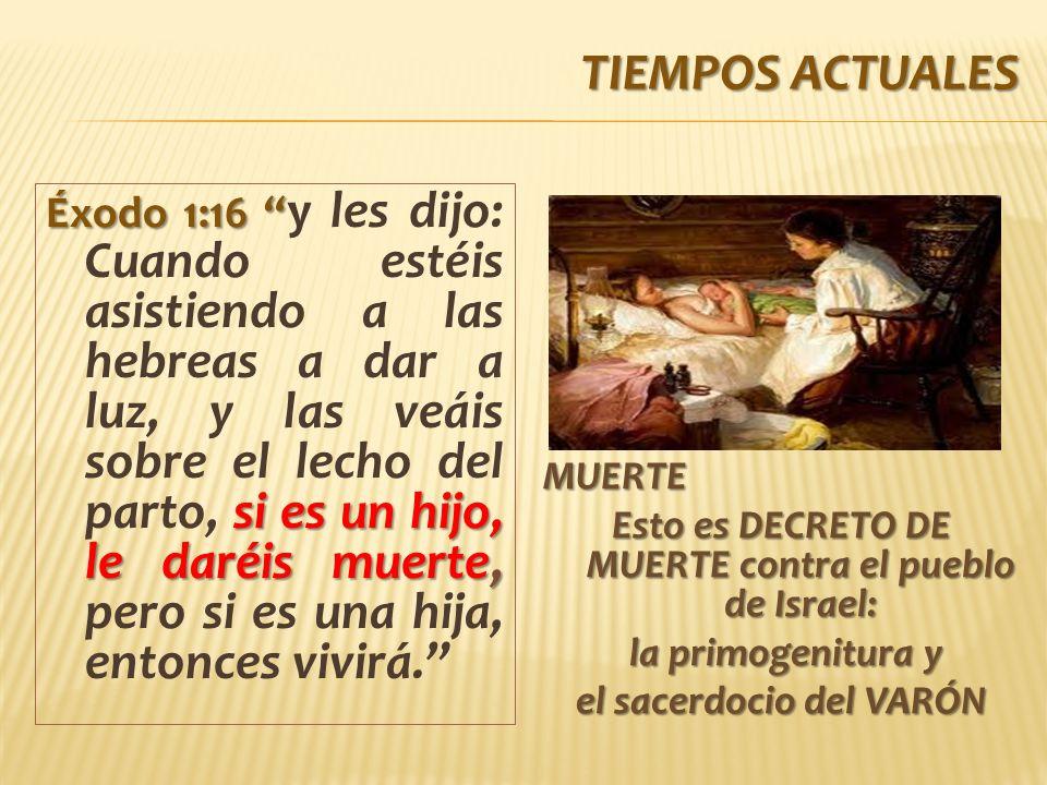 TIEMPOS ACTUALES Éxodo 1:16 si es un hijo, le daréis muerte, Éxodo 1:16 y les dijo: Cuando estéis asistiendo a las hebreas a dar a luz, y las veáis sobre el lecho del parto, si es un hijo, le daréis muerte, pero si es una hija, entonces vivirá.