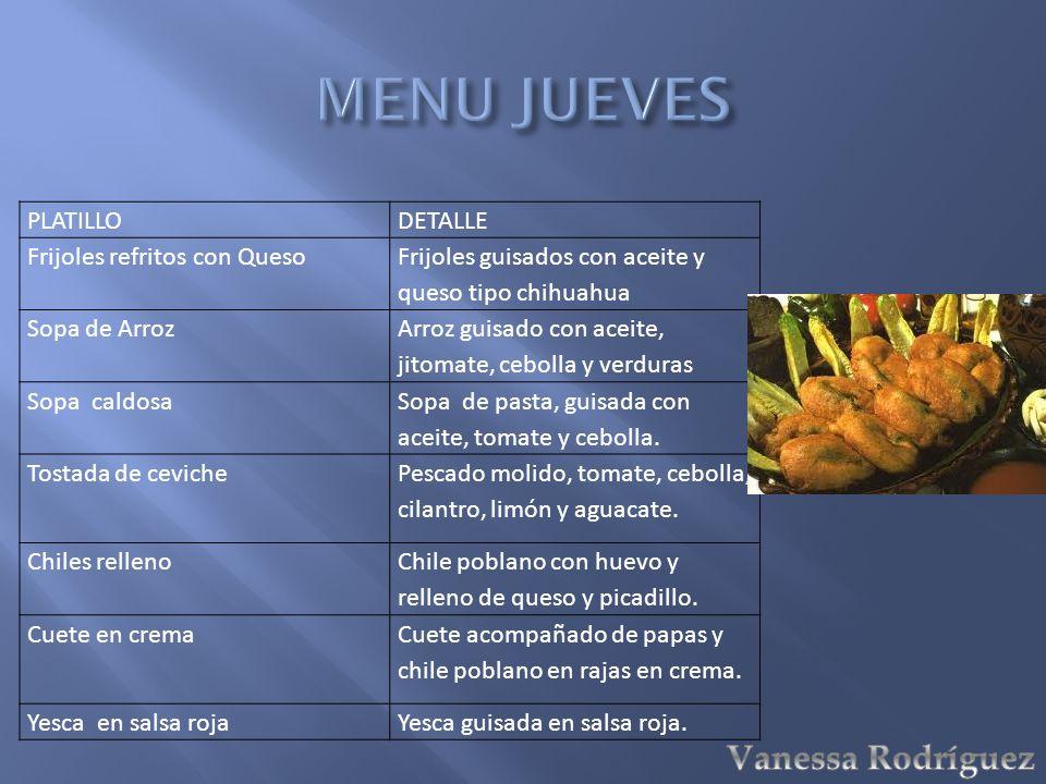 PLATILLODETALLE Frijoles refritos con Queso Frijoles guisados con aceite y queso tipo chihuahua Sopa de Arroz Arroz guisado con aceite, jitomate, cebo