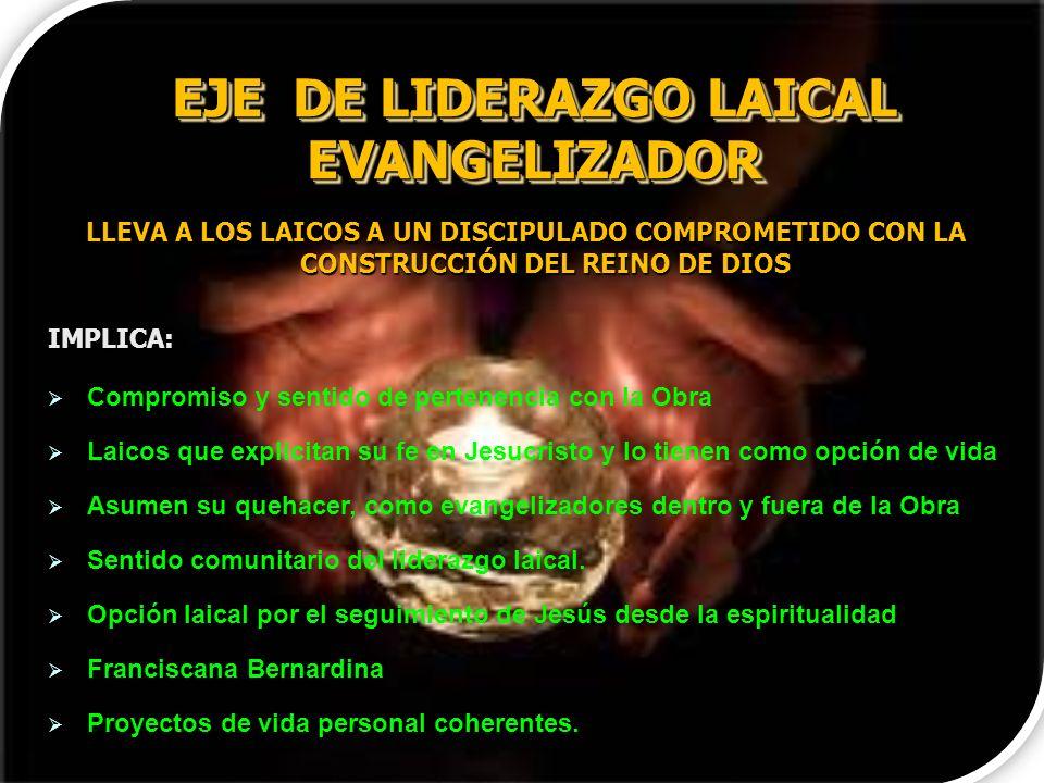 EJE DE LIDERAZGO LAICAL EVANGELIZADOR LLEVA A LOS LAICOS A UN DISCIPULADO COMPROMETIDO CON LA CONSTRUCCIÓN DEL REINO DE DIOS IMPLICA: Compromiso y sen