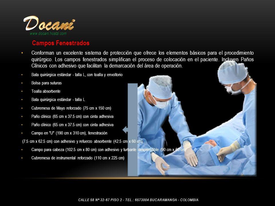 www.docani.hostzi.com Conforman un excelente sistema de protección que ofrece los elementos básicos para el procedimiento quirúrgico. Los campos fenes