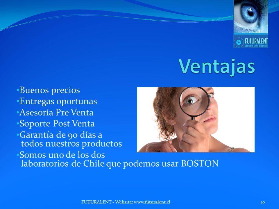 Buenos precios Entregas oportunas Asesoría Pre Venta Soporte Post Venta Garantía de 90 días a todos nuestros productos Somos uno de los dos laboratorios de Chile que podemos usar BOSTON FUTURALENT - Website: www.futuralent.cl10