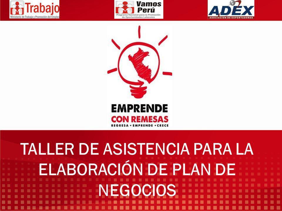 TALLER DE ASISTENCIA PARA LA ELABORACIÓN DE PLAN DE NEGOCIOS