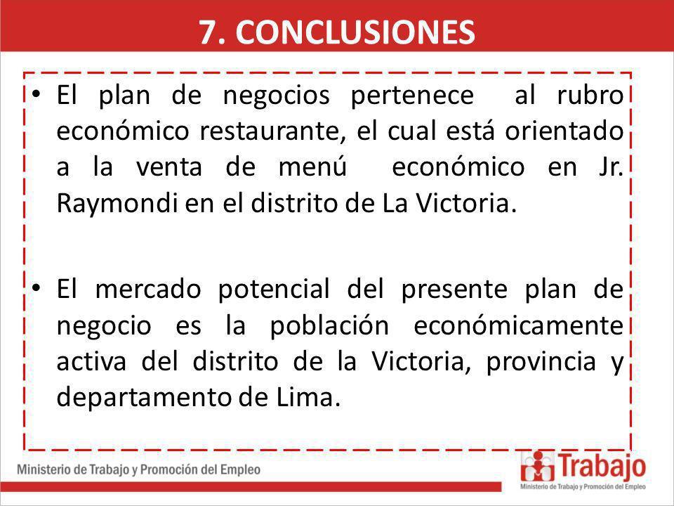 El plan de negocios pertenece al rubro económico restaurante, el cual está orientado a la venta de menú económico en Jr. Raymondi en el distrito de La