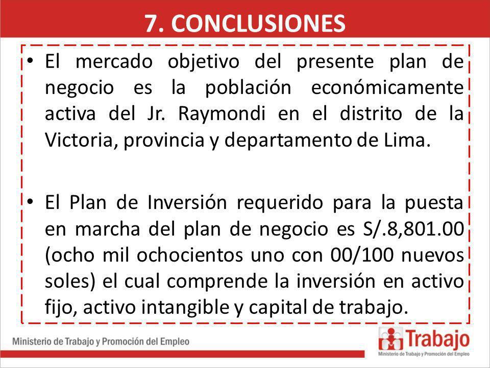 El mercado objetivo del presente plan de negocio es la población económicamente activa del Jr. Raymondi en el distrito de la Victoria, provincia y dep