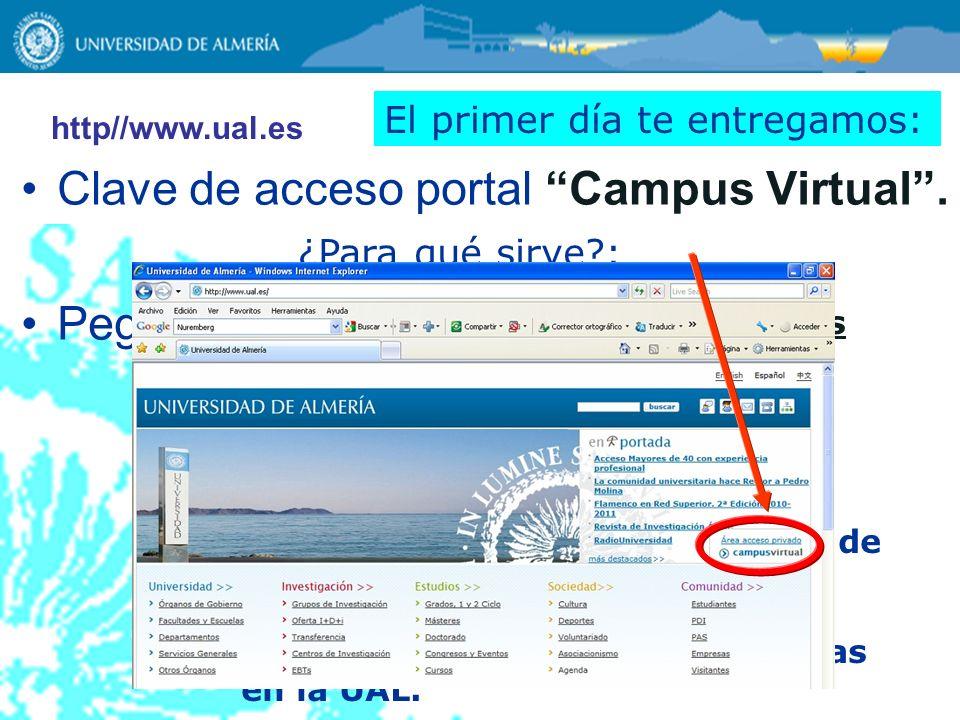 Clave de acceso portal Campus Virtual. Pegatinas asignaturas ¿Para qué sirve?: 1.Para que consultes los resultados de la prueba. 2.Para que puedas rec