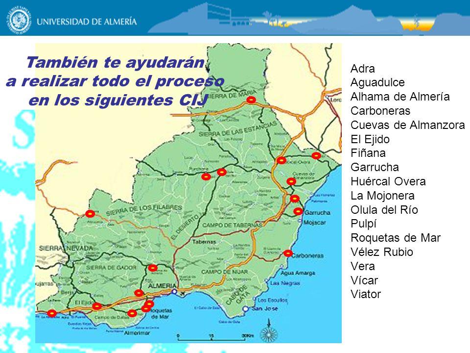 Adra Aguadulce Alhama de Almería Carboneras Cuevas de Almanzora El Ejido Fiñana Garrucha Huércal Overa La Mojonera Olula del Río Pulpí Roquetas de Mar