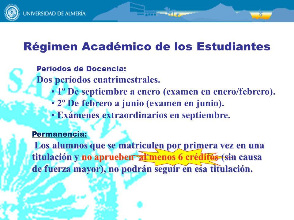 Régimen Académico de los Estudiantes Períodos de Docencia: Dos períodos cuatrimestrales. 1º De septiembre a enero (examen en enero/febrero). 2º De feb