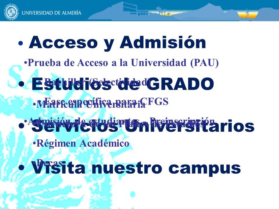 Acceso y Admisión Estudios de GRADO Servicios Universitarios Visita nuestro campus Prueba de Acceso a la Universidad (PAU) Bachiller (Selectividad) Fa