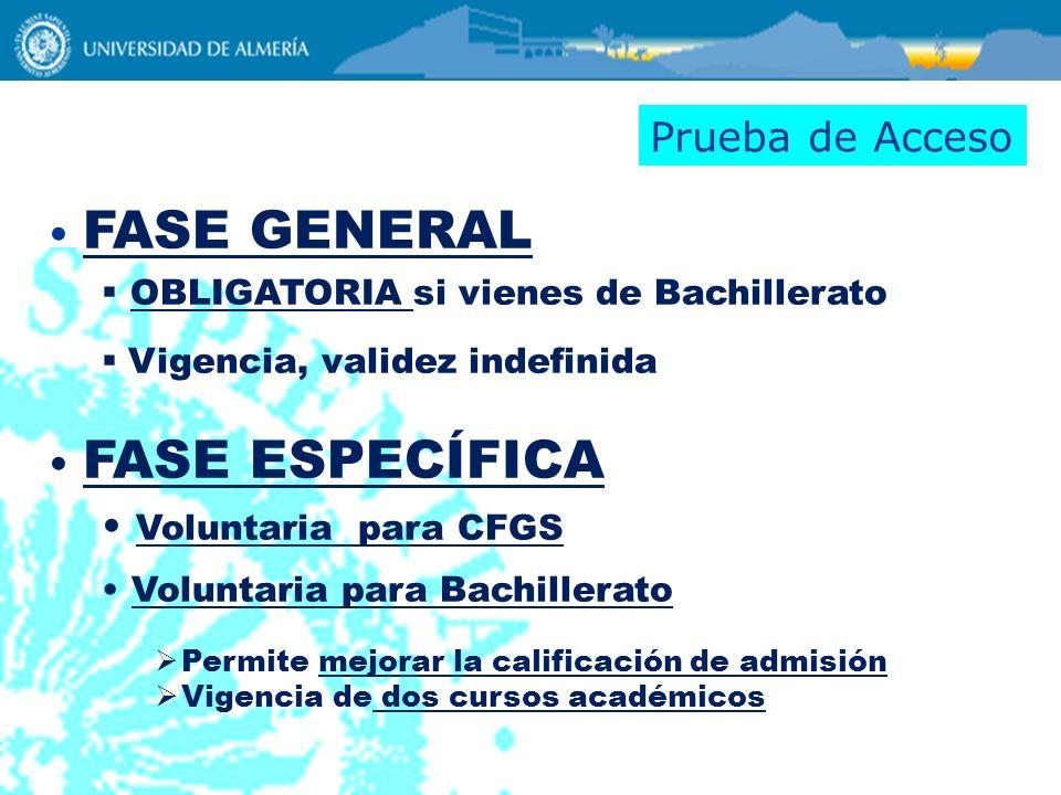 FASE GENERAL OBLIGATORIA si vienes de Bachillerato Vigencia, validez indefinida FASE ESPECÍFICA Voluntaria para CFGS Voluntaria para Bachillerato Perm