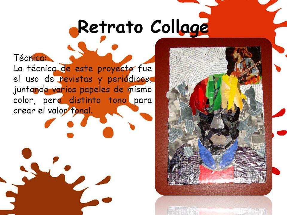 Retrato Collage Técnica: La técnica de este proyecto fue el uso de revistas y periódicos, juntando varios papeles de mismo color, pero distinto tono p