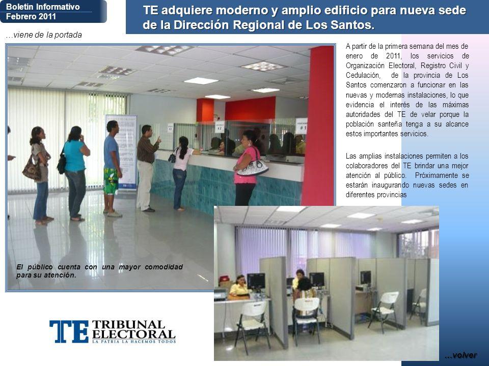 …viene de la portada Boletín Informativo Febrero 2011 A partir de la primera semana del mes de enero de 2011, los servicios de Organización Electoral,