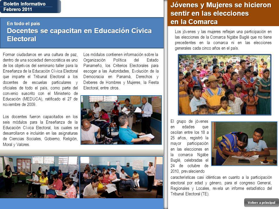 Boletín Informativo Febrero 2011 En todo el país Docentes se capacitan en Educación Cívica Electoral Formar ciudadanos en una cultura de paz, dentro d