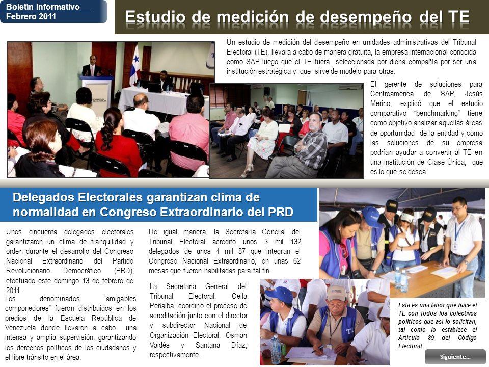 Boletín Informativo Febrero 2011 El gerente de soluciones para Centroamérica de SAP, Jesús Merino, explicó que el estudio comparativo benchmarking tie