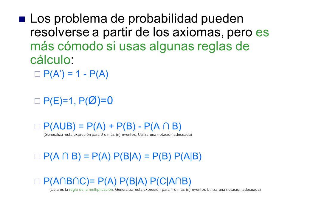 Los problema de probabilidad pueden resolverse a partir de los axiomas, pero es más cómodo si usas algunas reglas de cálculo: P(A) = 1 - P(A) P(E)=1, P( Ø)=0 P(AUB) = P(A) + P(B) - P(A B) (Generaliza esta expresión para 3 o más (n) eventos.
