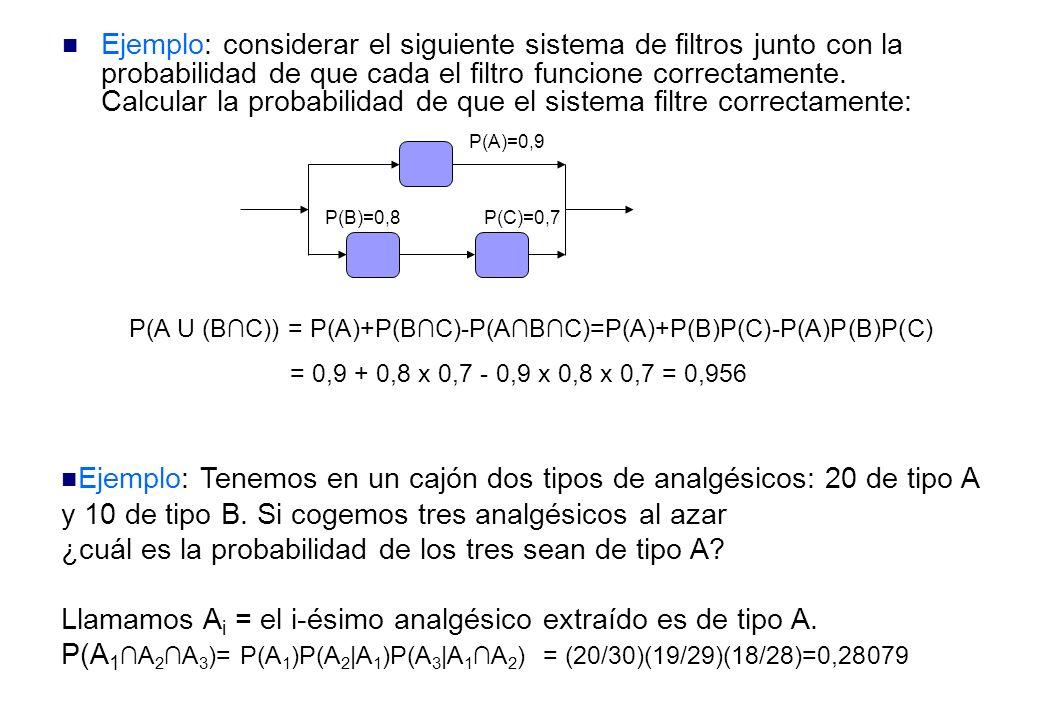 Ejemplo: considerar el siguiente sistema de filtros junto con la probabilidad de que cada el filtro funcione correctamente.
