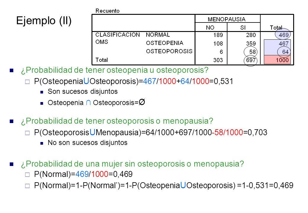 Ejemplo (II) ¿Probabilidad de tener osteopenia u osteoporosis.
