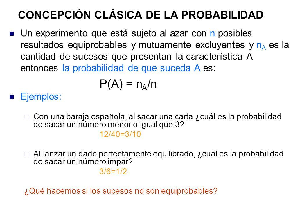 Un experimento que está sujeto al azar con n posibles resultados equiprobables y mutuamente excluyentes y n A es la cantidad de sucesos que presentan la característica A entonces la probabilidad de que suceda A es: P(A) = n A /n Ejemplos: Con una baraja española, al sacar una carta ¿cuál es la probabilidad de sacar un número menor o igual que 3.