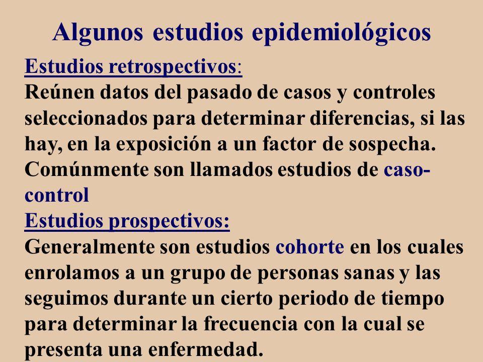 Algunos estudios epidemiológicos Estudios retrospectivos: Reúnen datos del pasado de casos y controles seleccionados para determinar diferencias, si l