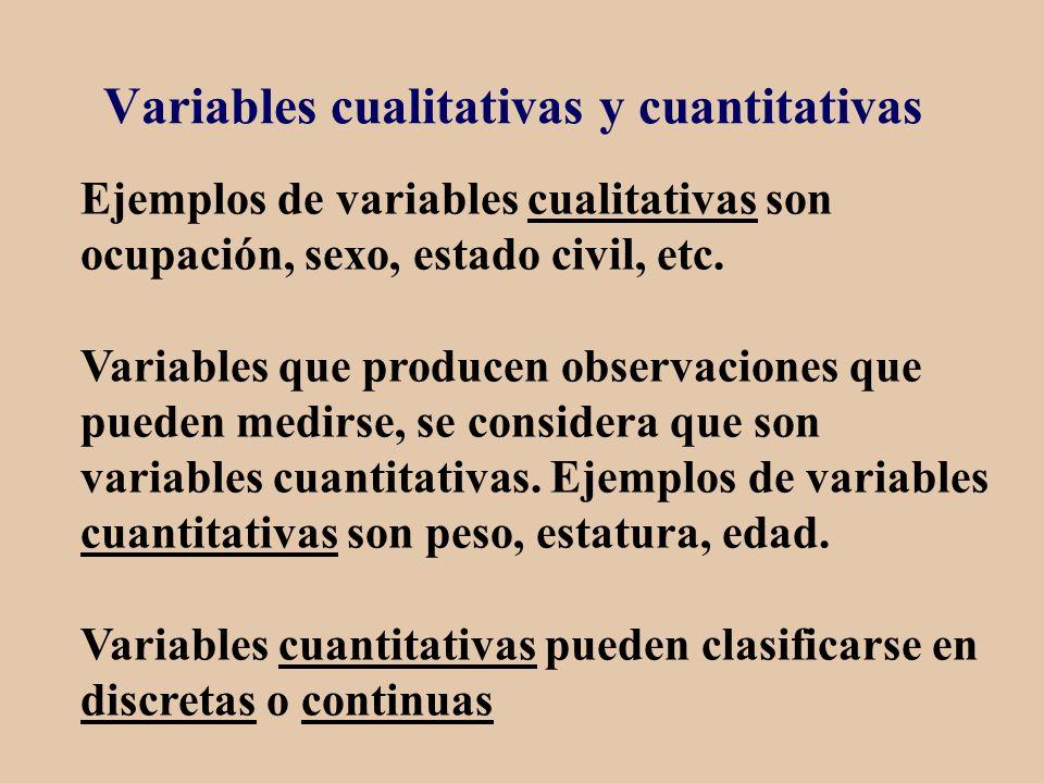 Variables cualitativas y cuantitativas Ejemplos de variables cualitativas son ocupación, sexo, estado civil, etc. Variables que producen observaciones
