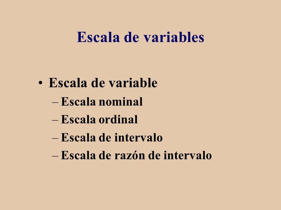Escala de variables Escala de variable –Escala nominal –Escala ordinal –Escala de intervalo –Escala de razón de intervalo
