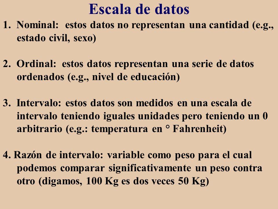 Escala de datos 1. Nominal: estos datos no representan una cantidad (e.g., estado civil, sexo) 2. Ordinal: estos datos representan una serie de datos
