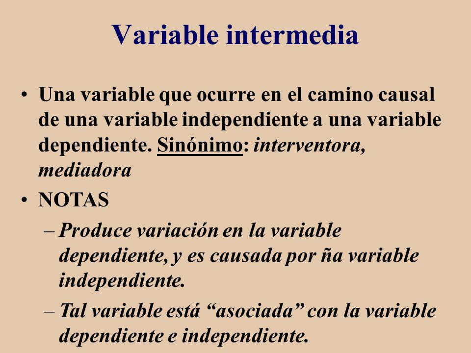 Variable intermedia Una variable que ocurre en el camino causal de una variable independiente a una variable dependiente. Sinónimo: interventora, medi