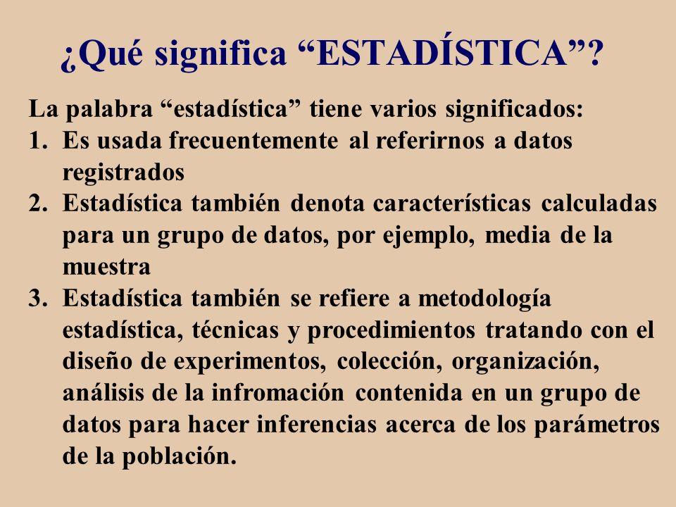 ¿Qué significa ESTADÍSTICA? La palabra estadística tiene varios significados: 1.Es usada frecuentemente al referirnos a datos registrados 2.Estadístic