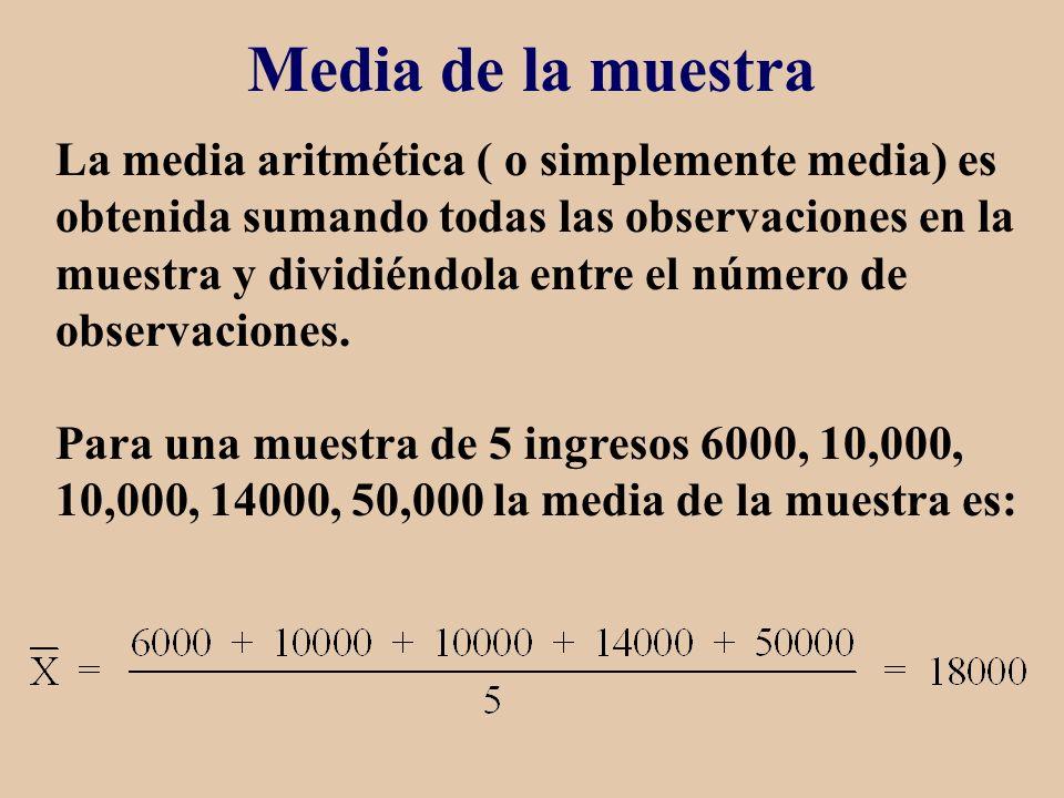 Media de la muestra La media aritmética ( o simplemente media) es obtenida sumando todas las observaciones en la muestra y dividiéndola entre el númer