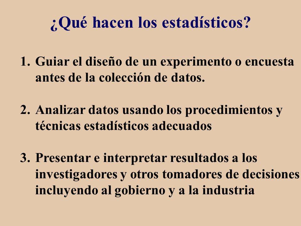 ¿Qué hacen los estadísticos? 1.Guiar el diseño de un experimento o encuesta antes de la colección de datos. 2.Analizar datos usando los procedimientos