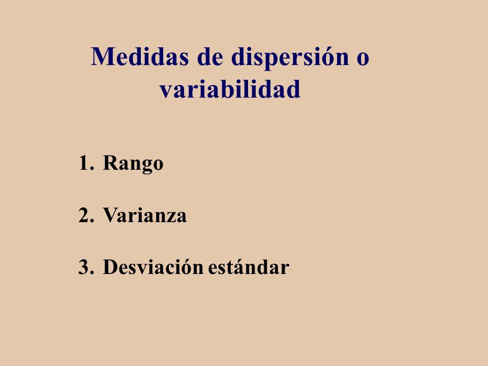 Medidas de dispersión o variabilidad 1.Rango 2.Varianza 3.Desviación estándar