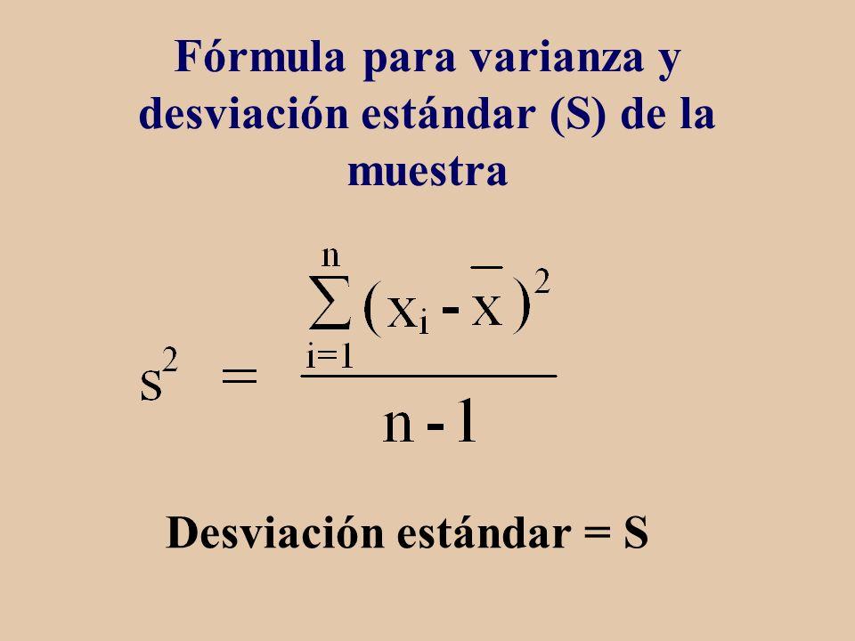 Fórmula para varianza y desviación estándar (S) de la muestra Desviación estándar = S