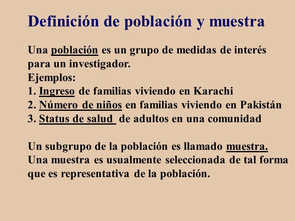 Definición de población y muestra Una población es un grupo de medidas de interés para un investigador. Ejemplos: 1. Ingreso de familias viviendo en K