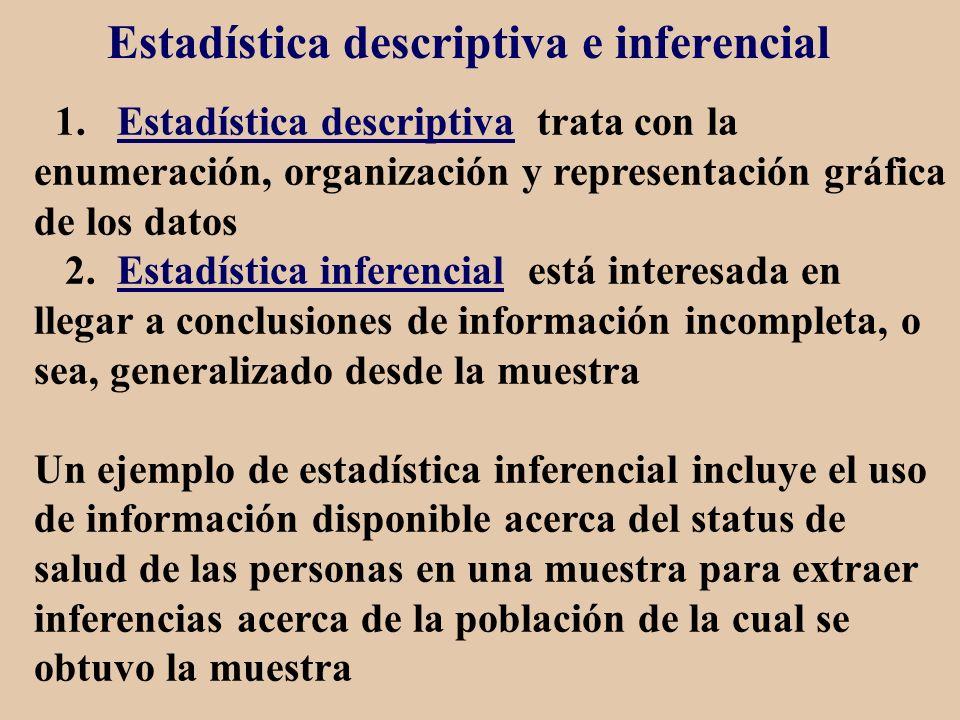 Estadística descriptiva e inferencial 1. Estadística descriptiva trata con la enumeración, organización y representación gráfica de los datos 2. Estad