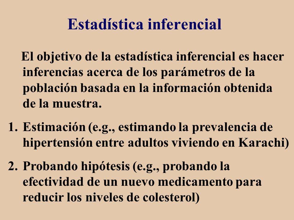 Estadística inferencial El objetivo de la estadística inferencial es hacer inferencias acerca de los parámetros de la población basada en la informaci