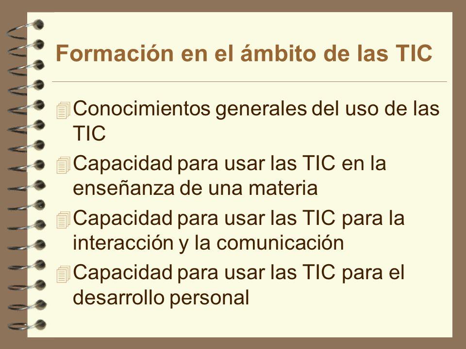 Formación en el ámbito de las TIC 4 Conocimientos generales del uso de las TIC 4 Capacidad para usar las TIC en la enseñanza de una materia 4 Capacida