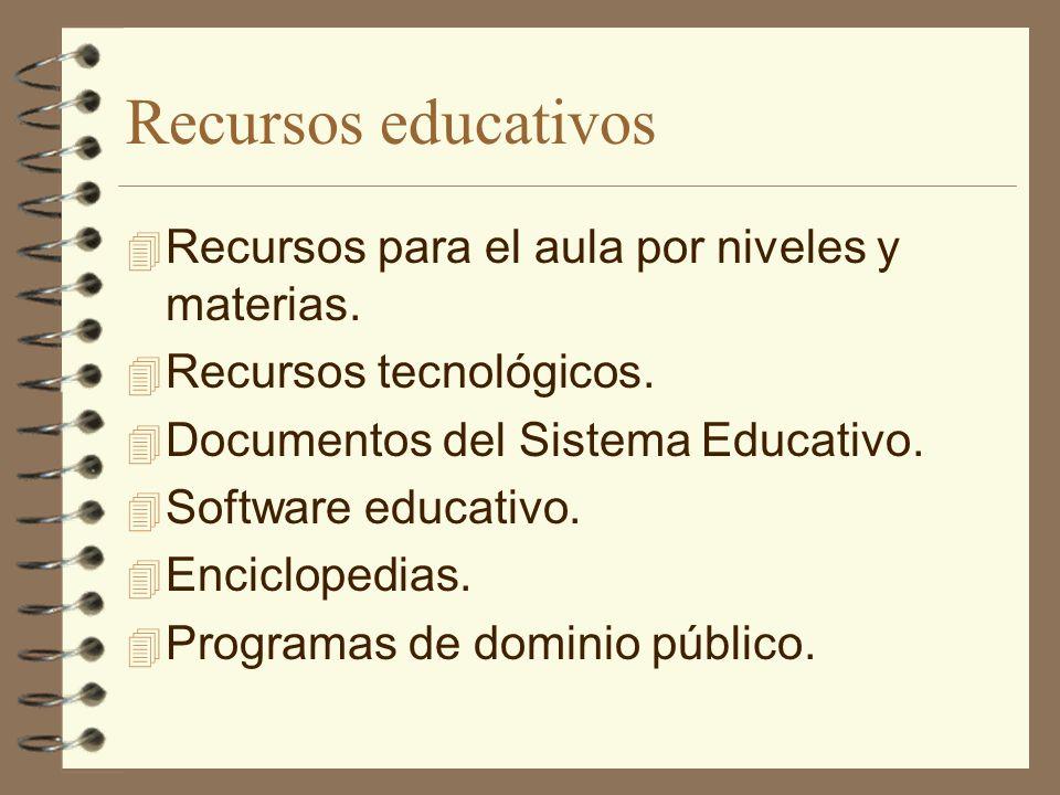 Recursos educativos 4 Recursos para el aula por niveles y materias. 4 Recursos tecnológicos. 4 Documentos del Sistema Educativo. 4 Software educativo.