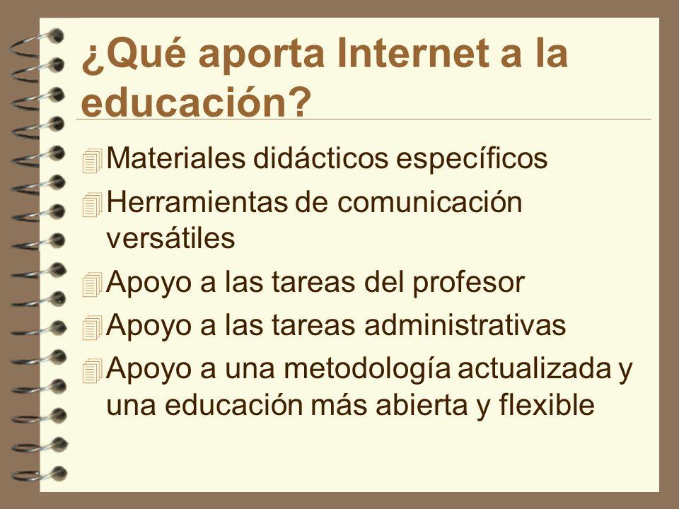 ¿Qué aporta Internet a la educación? 4 Materiales didácticos específicos 4 Herramientas de comunicación versátiles 4 Apoyo a las tareas del profesor 4