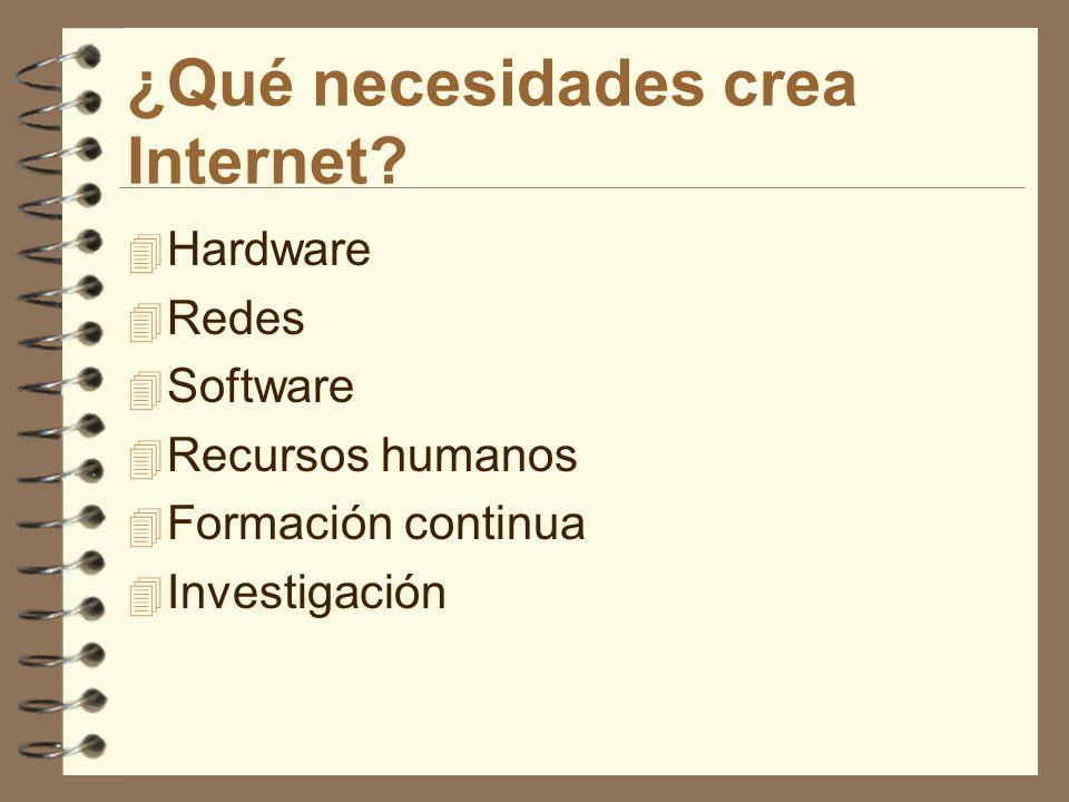 ¿Qué necesidades crea Internet? 4 Hardware 4 Redes 4 Software 4 Recursos humanos 4 Formación continua 4 Investigación