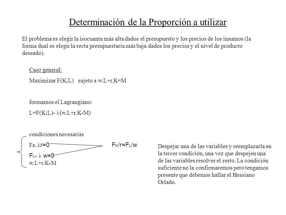 Determinación de la Proporción a utilizar El problema es elegir la isocuanta más alta dados el presupuesto y los precios de los insumos (la forma dual