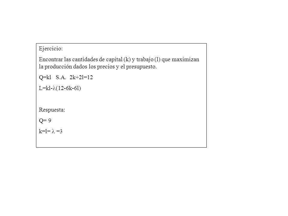 Ejercicio: Encontrar las cantidades de capital (k) y trabajo (l) que maximizan la producción dados los precios y el presupuesto. Q=kl S.A. 2k+2l=12 L=