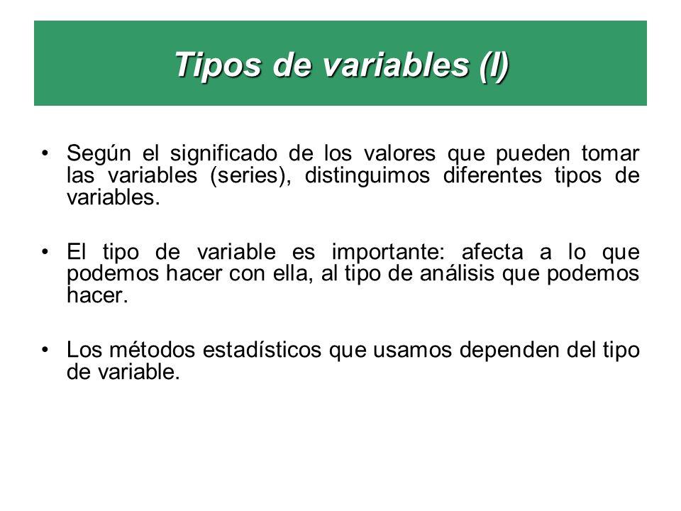 Tipos de variables (I) Según el significado de los valores que pueden tomar las variables (series), distinguimos diferentes tipos de variables. El tip