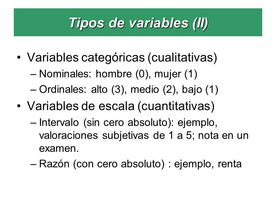Tipos de variables (II) Variables categóricas (cualitativas) –Nominales: hombre (0), mujer (1) –Ordinales: alto (3), medio (2), bajo (1) Variables de