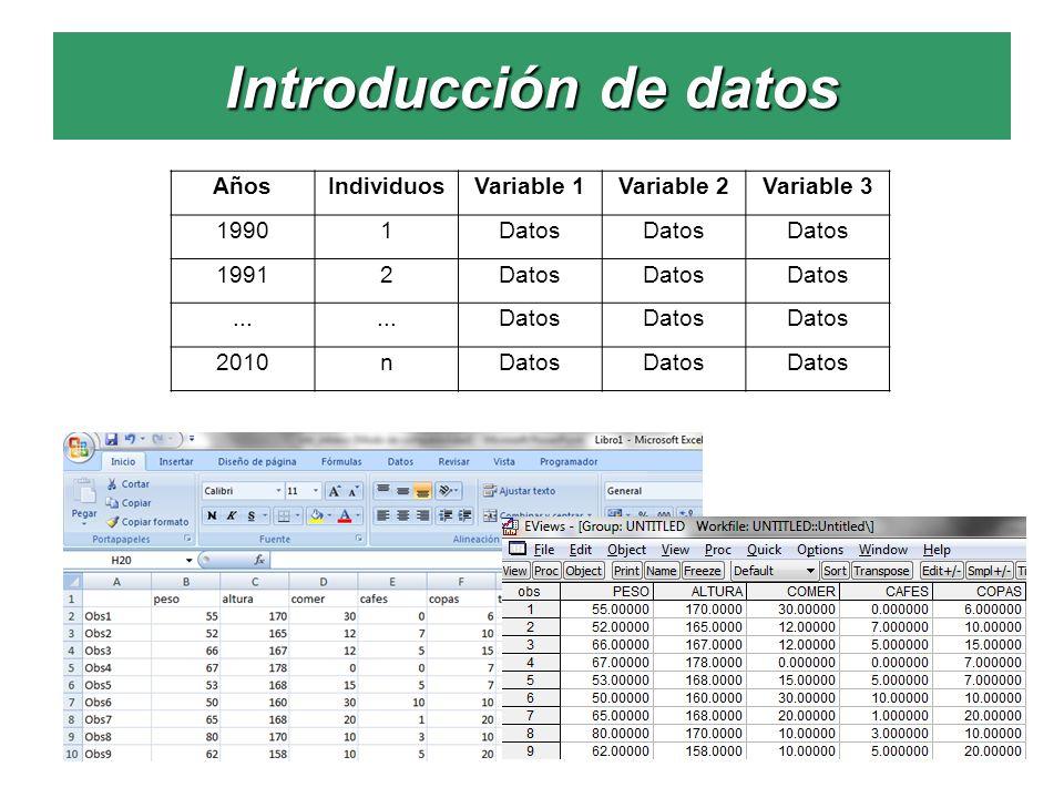 Introducción de datos AñosIndividuosVariable 1Variable 2Variable 3 19901Datos 19912Datos... Datos 2010nDatos